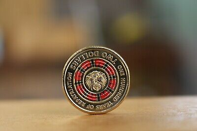 2019 $2 Red Coloured Coin - One 100 Years of Repatriation  (FROM RAMS Mint Roll)