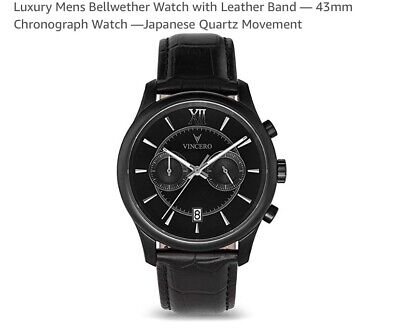 d2b0b751bce8 Vincero Men s Bellwether Matte Black Chronograph Watch with Leather Band