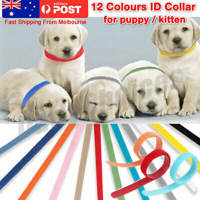 12pcs Color Whelping ID Collar For Puppy Kitten Pet Soft Fleece Tags 4 Sizes