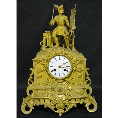A French Figural gilt bronze mantel clock 19th Century Free Shipping