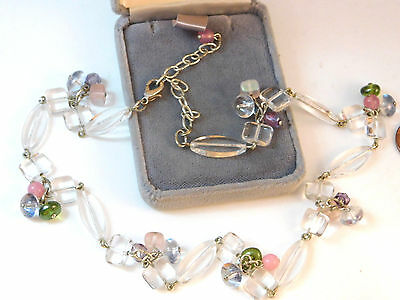 Vintage Clear Glass Pink Lavender Green Fruit Salad Silver Wired Necklace 8c 24