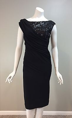 564add17 SUZI CHIN for Maggie Boutique Black Cocktail Party Dress Below Knee Sequins  Sz 4