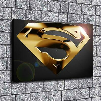 "Superman Gold Logo Painting HD Print on Canvas Home Decor Room Wall Art 12""x20"""