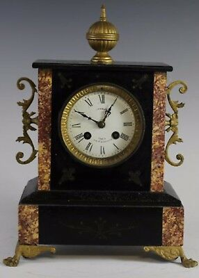 Antique French Polished Slate & Rouge Marble 8 Day Mantle Clock Paris
