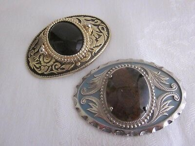 Pair of Mounted Stone Belt Buckles - Silver Tone on Blue & Gold Tone on Black
