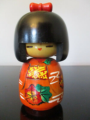 Vintage Japanese Kokeshi Girl Doll Hand Painted Wood Wooden Japan Signed! 6