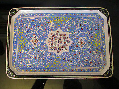Vintage Persian Islamic Mina Kari Hand Painted Art Enamel on Copper Platter Tray