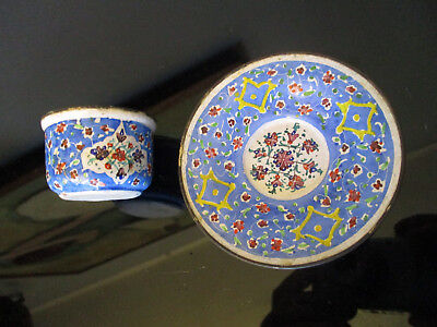 Vintage Persian Islamic Mina Kari Hand Painted Art Enamel on Copper Cup & Saucer