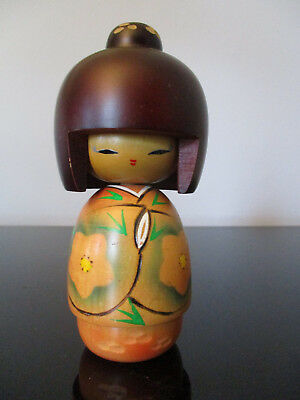 Vintage Japanese Kokeshi Girl Doll Hand Painted Wood Wooden Japan Signed! 5