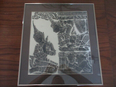 Vintage Angkor Wat Thai/Cambodian Temple Stone Rubbing Art on Rice Paper Frame!2