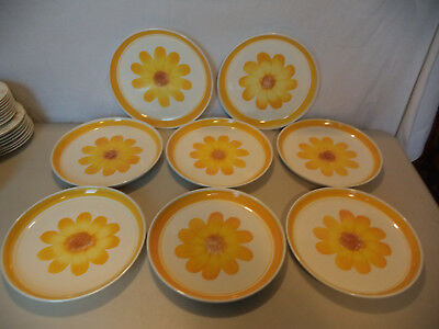 8 Vintage Country French Sarreguemines Hand Painted Flower Floral Dinner Plates