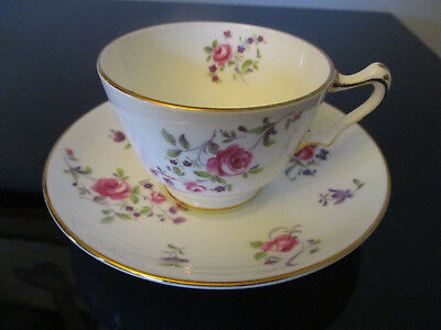 Vintage Crown Staffordshire Fine Bone China Roses Gold Gilt Tea Cup & Saucer C&S