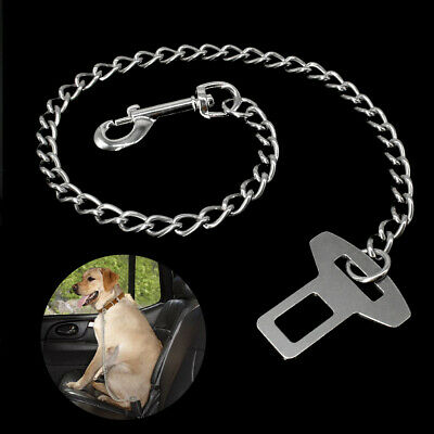 Car Safety Seat Belt Dog Leash Travel Clip Stainless Steel Chain Restraint Leash