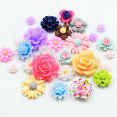 50pcs Mixed Color Resin Beads Rose Flower Flat Back Embellishment Craft DIY