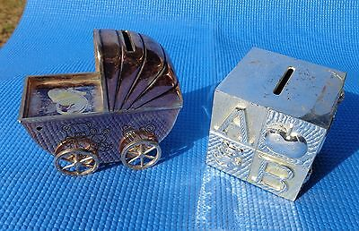 Coin Bank Baby Carriage and ABC Cube Bank Silverplated Vintage