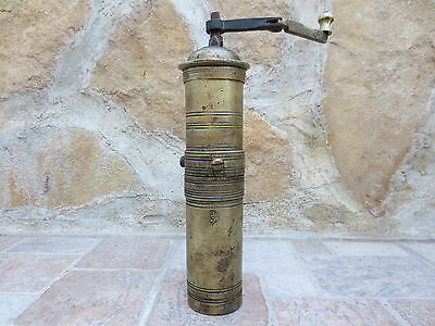 Primitive Antique Ottoman Brass-Carved TUGRA Marked Hand Coffee Grinder 19th #01