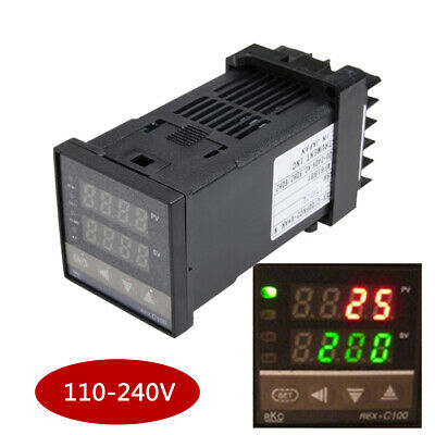 REX-C100 PID Temperature Controller 100-240V + 40A SSR +K Thermocouple  !