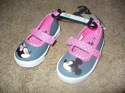 d010fd8a2e Minnie   Mickey Mouse Disney Girls Toddler Slip On Shoes Gray   Pink Size 2