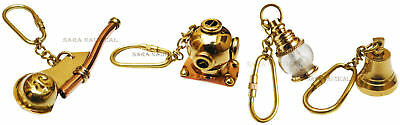 Set Of Four Key chain /Diving Helmet/Whistle/Lantern/Ship Bell Nautical Keyrings