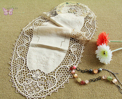 """Gorgeous 34"""" Beige Oval HAND Embroidered JIMO lace Linen Doily Table Runner"""