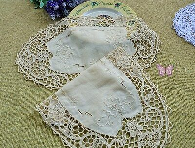"""2PCS Gorgeous 16X10"""" Beige Oval HAND Embroidered JIMO lace Linen Doily Placemats"""