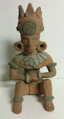 Pre-Columbian Mayan Aztec Crowned Pottery Statue Figure Clay - Free Shipping