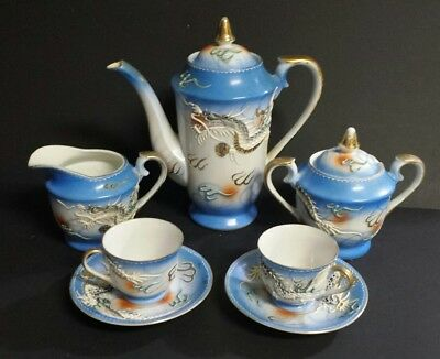 Fleetwood China Dragonware Moriage Tea Set Hand-painted Dragons 7pc Teapot
