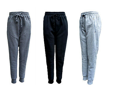 New Womens Ladies Track Pants Fleece Lined Basic Cuff Causal Trousers Trackie