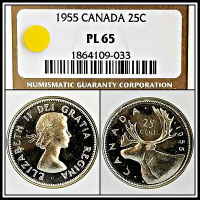 1955 Silver 25c Canada Quarter 25 Cents NGC PL65 Proof-like Vintage BU Unc Coin
