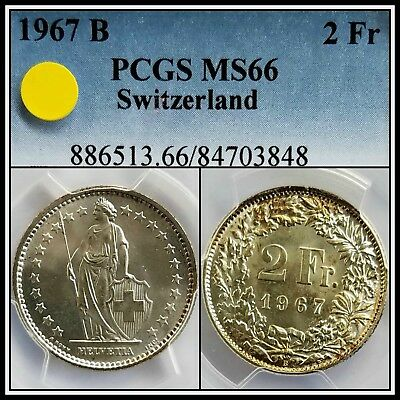 1967-B Silver Switzerland 2 Francs PCGS MS66 Gem BU Unc Uncirculated Swiss Coin
