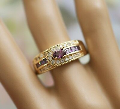 Vintage Jewellery Gold Ring Amethyst and White Sapphires Antique Jewelry Size 10