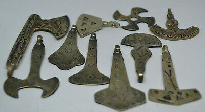 FROM MY OWN COLLECTION LOT OF 10 UNIQUE Viking SILVER HUGE Pendant 8-10th AD.