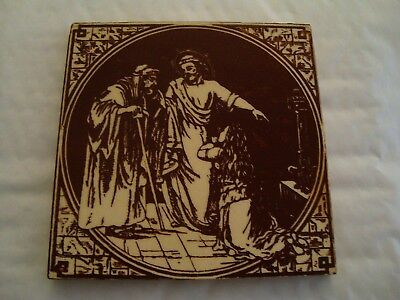 Minton Hollins & Co Biblical tile with image of Christ   19/78