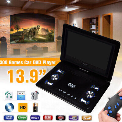 "13.9"" HD TV Portable DVD EVD Player 16:9 LCD 270° Swivel Screen + Remote Control"