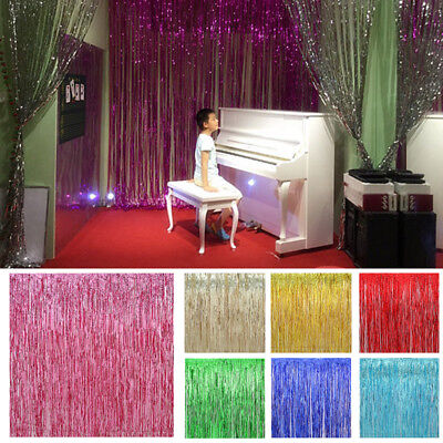 shiny Metallic Fringe Curtain Foil Tinsel Party Door Wedding Home Decor Hot