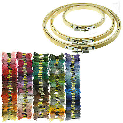 Bamboo Hoops/Different Colors Embroidery Thread Skeins Cross Stitch Accessories