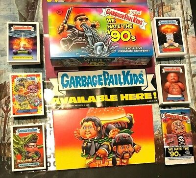 Garbage Pail Kids WE HATE 90's Complete 220 Base Card Set Collector Box Wrappers