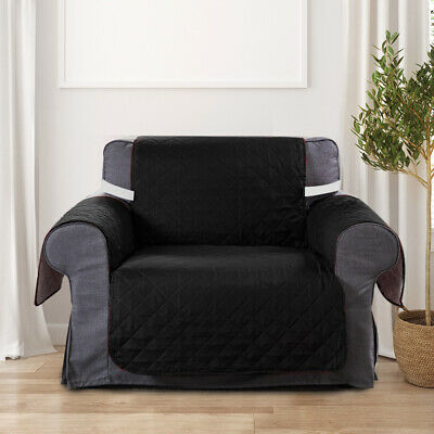 Couch Sofa Cover Removable Quilted Slipcover Pet Kids Protector With Strap Black