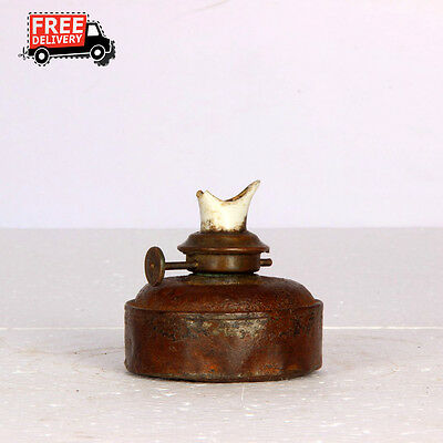 1900'S Indian Antique Old Hand Crafted Iron Lamp Lantern Oil Container 1054