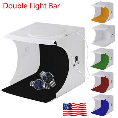 Double LED Light Room Photo Studio Photography Lighting Tent Backdrop Cube Box W