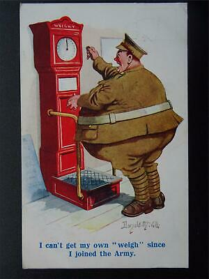 WW1 COMIQUE Series LARGE SOLDIER TRYS WEIGH HIMSELF Donald McGill c1918 Postcard