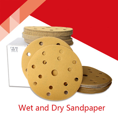 6 Inch(150mm) 15-Hole Wet & Dry Sandpaper Hook&Loop Sanding Discs 80#-400# Grit