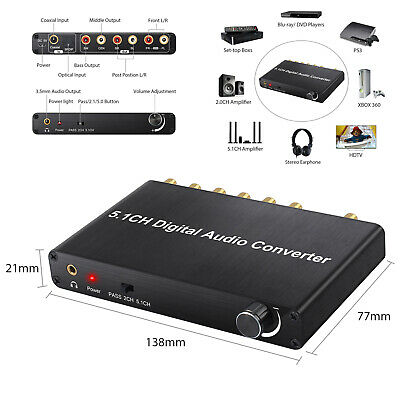 Digital DAC Audio Decoder Optical Coaxial Toslink to Analog 1in 6out Converter
