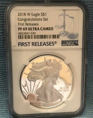 2018 W  Ngc Pf69 Proof Silver Eagle Congratulations Set (With Coa And Mint Issue