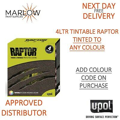 Upol Raptor Truck Bed Liner Tough Coating U-Pol 4Ltr *Tinted To Any Colour Code*