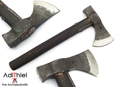 BN_02b Bushcraft AXE with Damascus Steel Cutting Edge with Hand Carved Handle