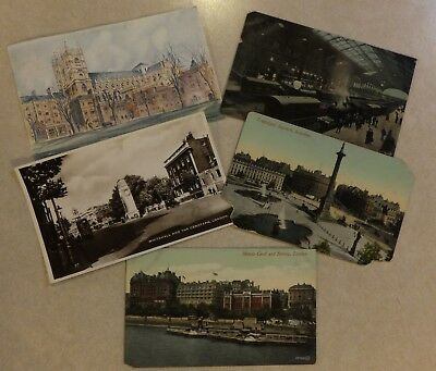 Vtg London Postcards: Westminster Abbey Liverpool Railway Station Trafalgar Sq