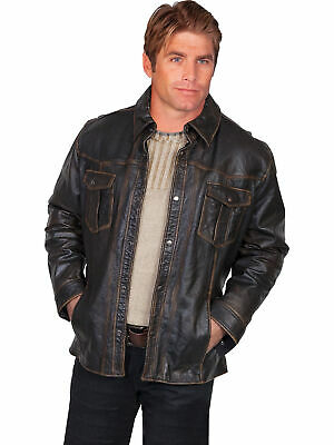 3bd6f9c6f SCULLY LEATHER MENS Jean Motorcycle Lamb Jacket Snap Front Black L