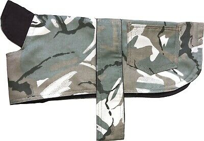 Camouflage Dog Coat Cotton Camo Showerproof Hook and Loop Straps Pocket Puppy