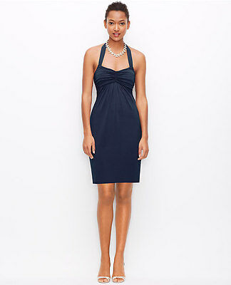 Ann Taylor Soft Jersey Halter Dress Navy Blue Dark or Gray, sz 8, ret. 189$ NWT!